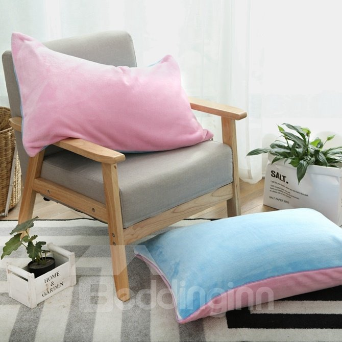 Beautiful Pink and Sky Blue Flannel 4-Piece Duvet Cover Sets