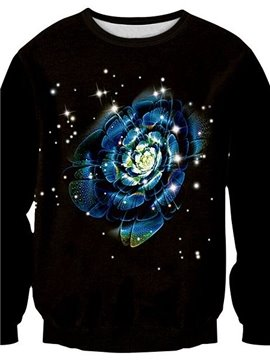 Modern Long Sleeve Flower Pattern 3D Painted Pullover Sweatshirt