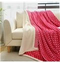 Lovely Polka Dot Print Flannel and Imitated Cashmere Blanket