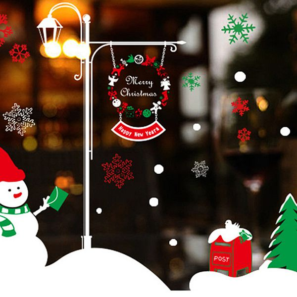 Super Festival Christmas Decoration Snowman Pattern Wall Sticker