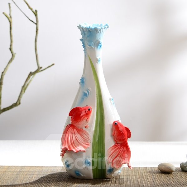 White Ceramic Two Beautiful Goldfish Print Flower Vase Painted Pottery