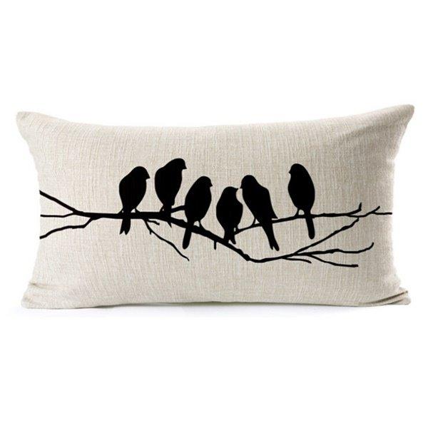 Vintage Style Lovely Bird Print Throw Pillow Case