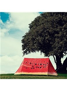 3-Person Watermelon Pattern Windproof and Waterproof 3D Printed Quick-Set up Outdoor Tent