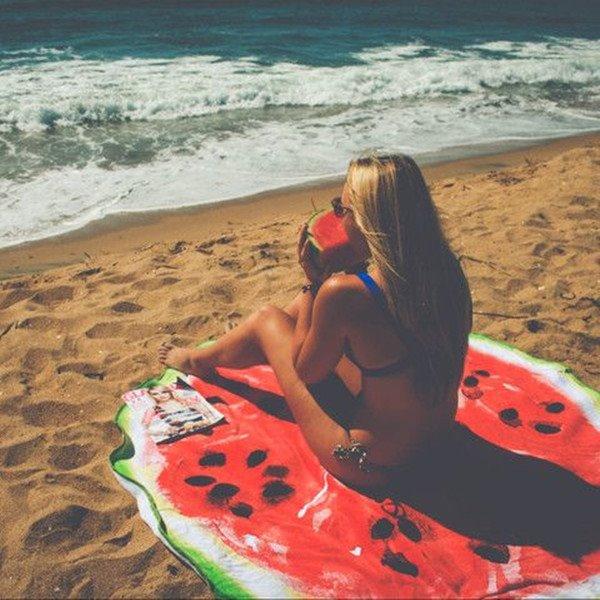 Novelty Giant Watermelon Multi Usage Vacation Round Beach Throw Mat