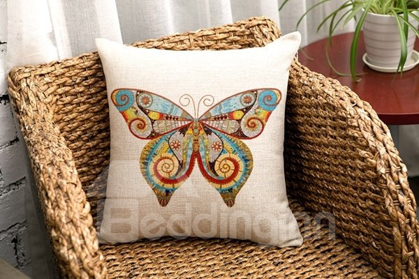 Amazing Butterfly Print Cotton Throw Pillow Case