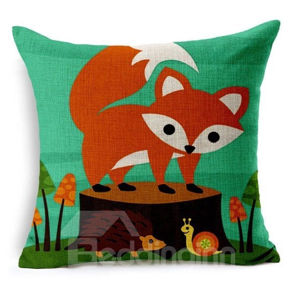 Cute Fox Reactive Printing Throw Pillow Case