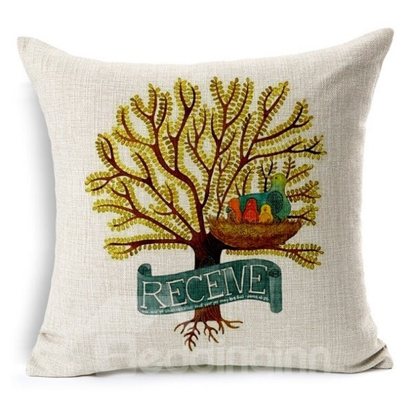 Pastoral Style Lovely Birds Print Throw Pillow Case