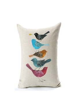 Lovely Colorful Birds Print Decorative Throw Pillow Case