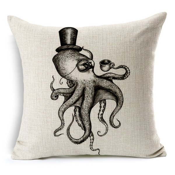 Retro Simple Sketch Octopus Print Throw Pillow Case