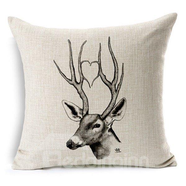 Minimalist Style Sketch Animal Throw Pillow Case