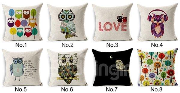 Modern Style Lovely Owl Print Throw Pillow Case