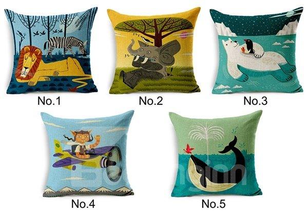 Unique Modern Style Cartoon Animal Print Throw Pillow Case