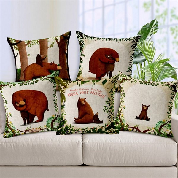 Modern Popular Bear Print Throw Pillow Case