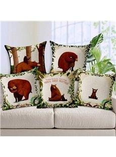 Modern Popular Bear Print Throw Pillow Case