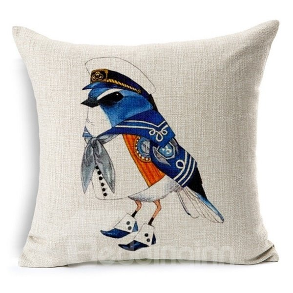 Dignified Bird Print Square Throw Pillow Case