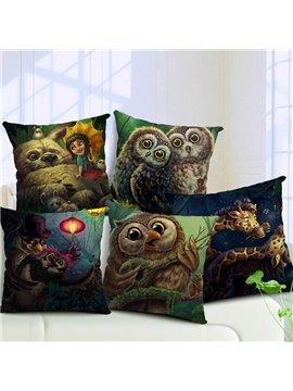 Super Lovely Owl Print Throw Pillow Case