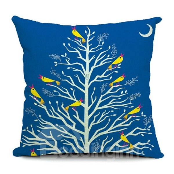 Delicate Color Cartoon Owl Print Throw Pillow Case