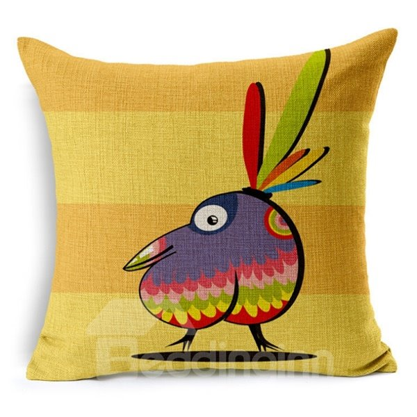 Simple Design Cartoon Owl Print Throw Pillow Case