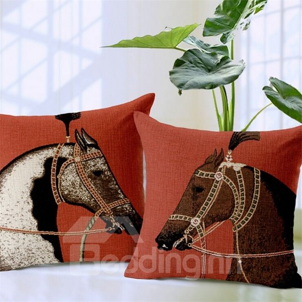 Classic Retro Horse Print Throw Pillow Case
