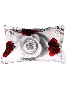 Gorgeous Retro Style Rose Print 2-Piece Polyester Pillow Cases