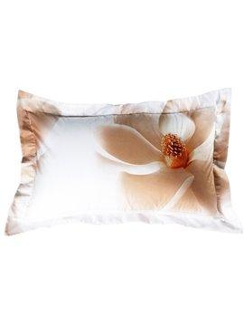 100% Cotton White Magnolia Print 2-Piece Pillow Cases