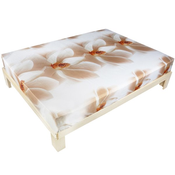 Beautiful 3D White Magnolia Printed Cotton Fitted Sheet