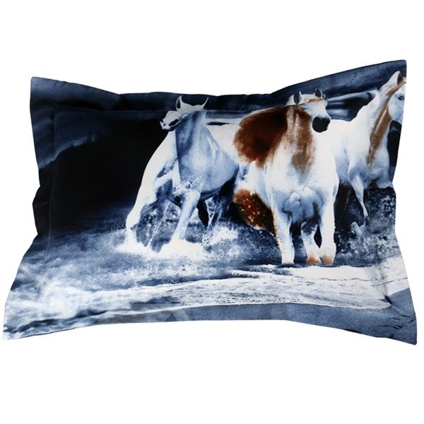 Fantastic Running Horses Print 2-Piece Polyester Pillow Cases