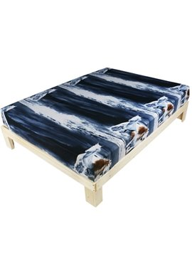 Special Design Vivid Horse Print Polyester Fitted Sheet