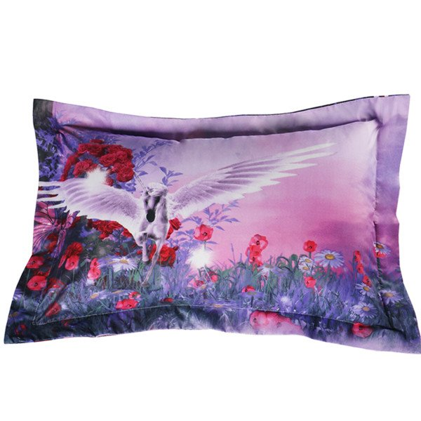 Elegant Purple Flying Horse Print 2-Piece Pillow Cases