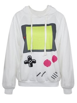 Long Sleeve Game Machine Pattern White 3D Painted Hoodie