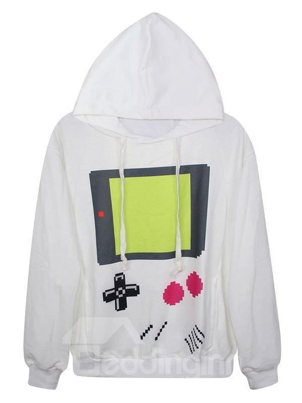 Long Sleeve Game Machine Pattern White 3D Painted Hoodie