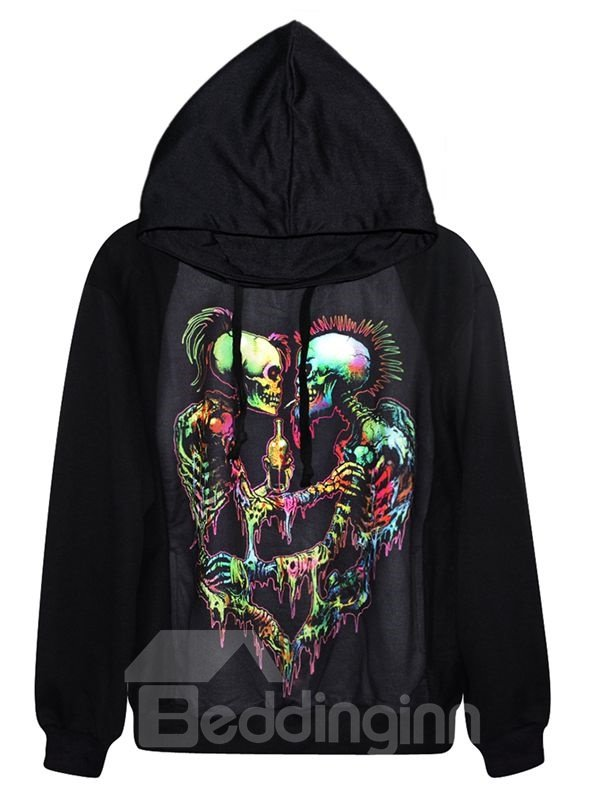 Fashion Long Sleeve Two Skulls Pattern Black 3D Painted Hoodie