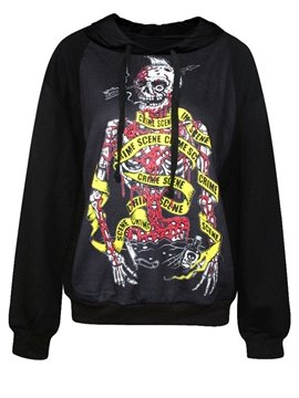Long Sleeve Bleeding Skull Solider Pattern Black 3D Painted Hoodie