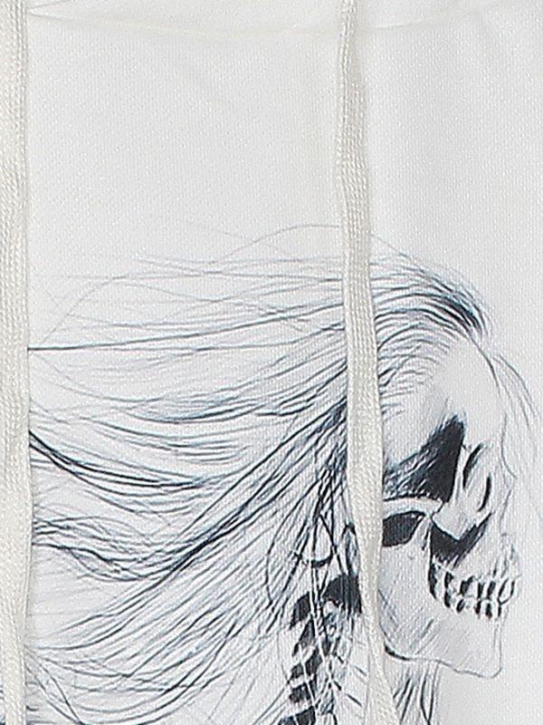 Modern Long Sleeve Side Face of Skull Girl Pattern White 3D Painted Hoodie