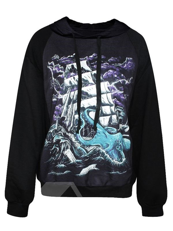 Super Long Sleeve Sailing Pattern 3D Painted Hoodie