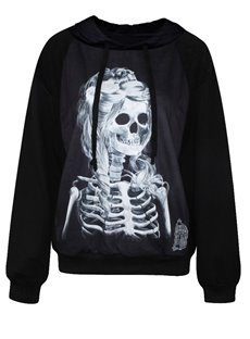 Pretty Long Sleeve Skull Girl Pattern 3D Painted Hoodie