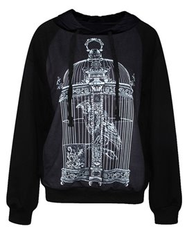 Modern Long Sleeve Bird in Birdcage Pattern 3D Painted Hoodie