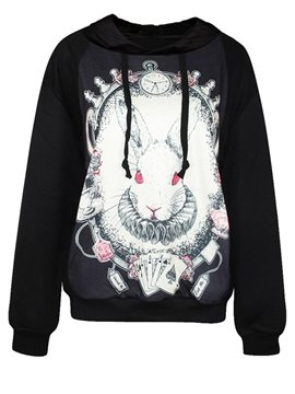 Cute Long Sleeve Rabbit Pattern 3D Painted Hoodie