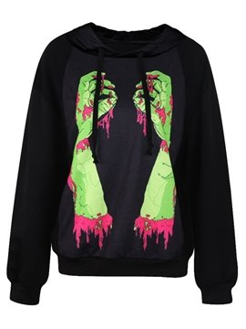Super Long Sleeve Bleeding Hand Pattern 3D Painted Hoodie