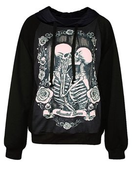 Long Sleeve Two Skulls Pattern 3D Painted Hoodie