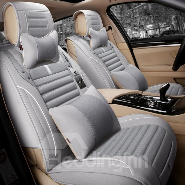 Fashional Light Contrast Color Easy Breathable Universal 7-Seater Car Seat Cover