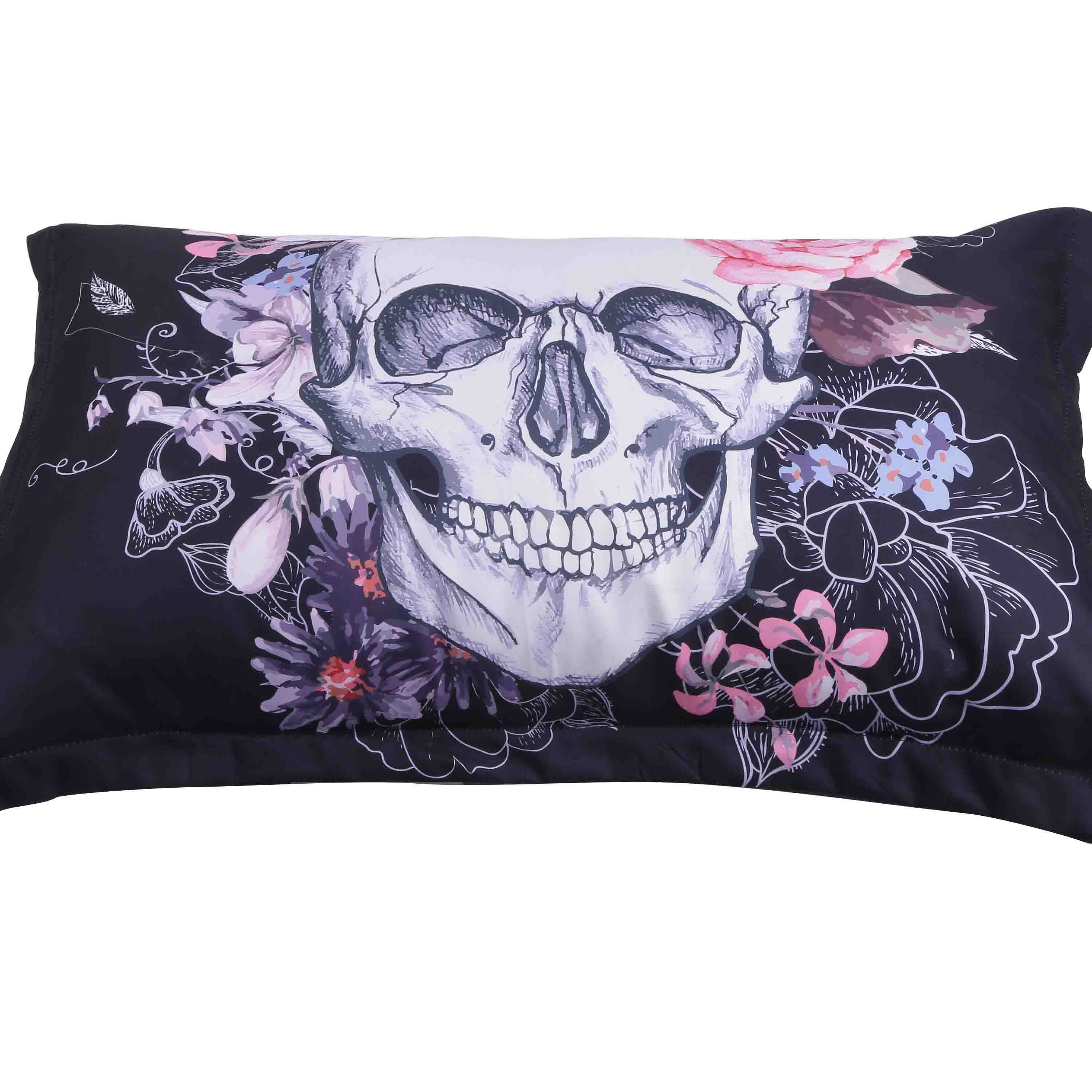 3D Skull and Flowers Printed Cotton 4-Piece Black Bedding Sets/Duvet Covers
