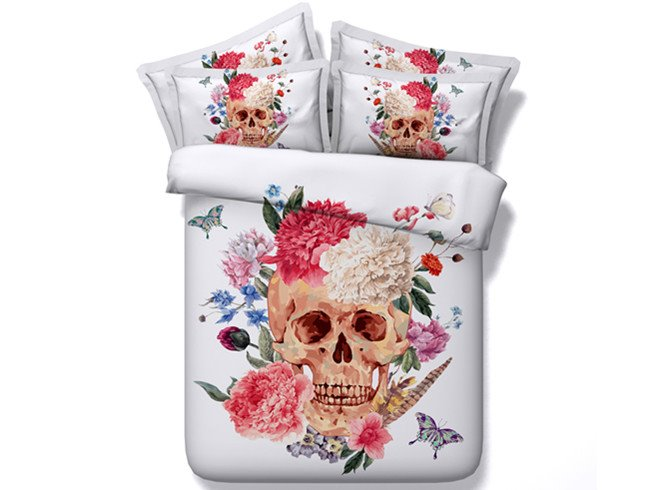 3D Peonies and Skull Printed Cotton 4-Piece White Bedding Sets/Duvet Covers
