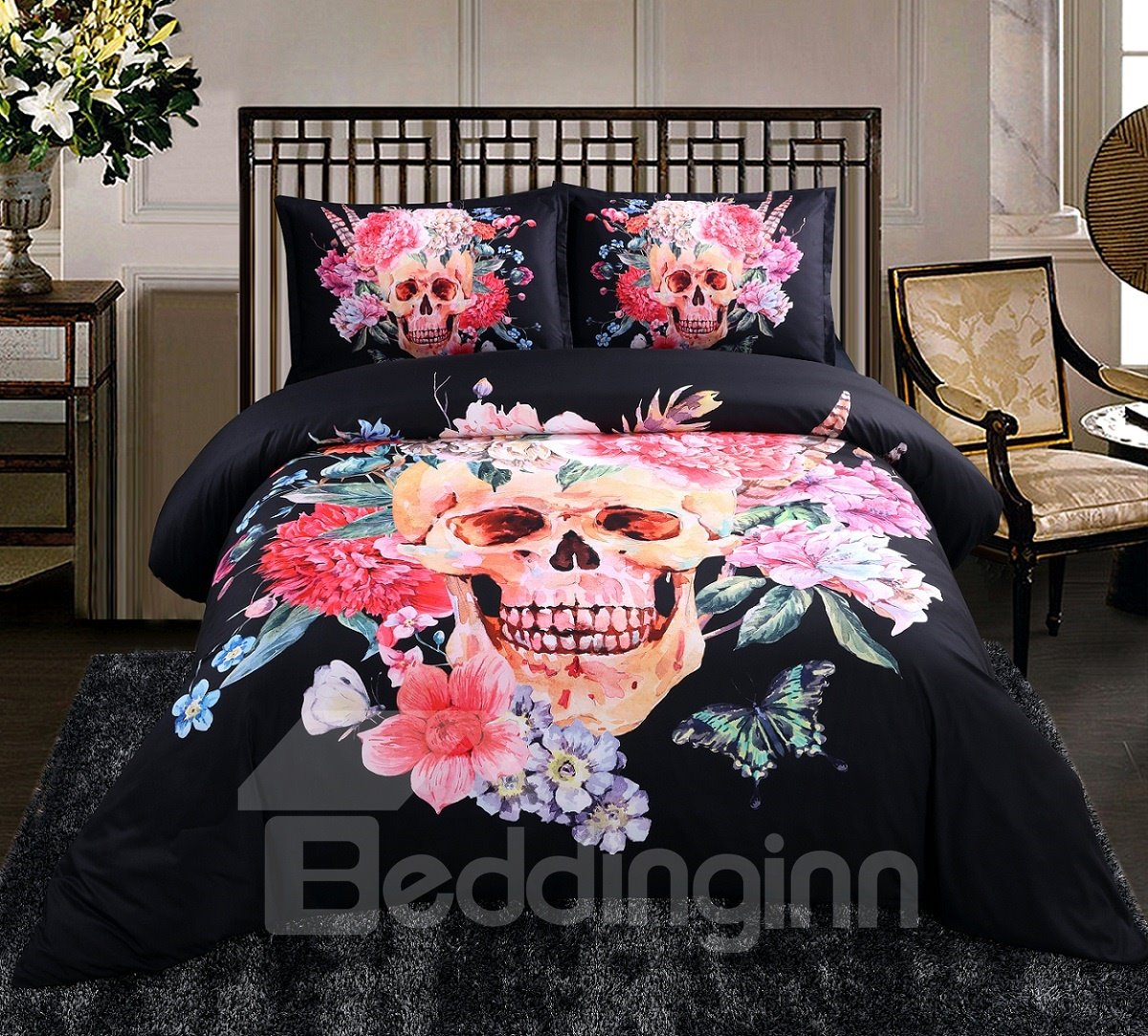 3D Sugar Skull with Blooming Flowers Printed Cotton 4-Piece Black Halloween Bedding Sets/Duvet Covers