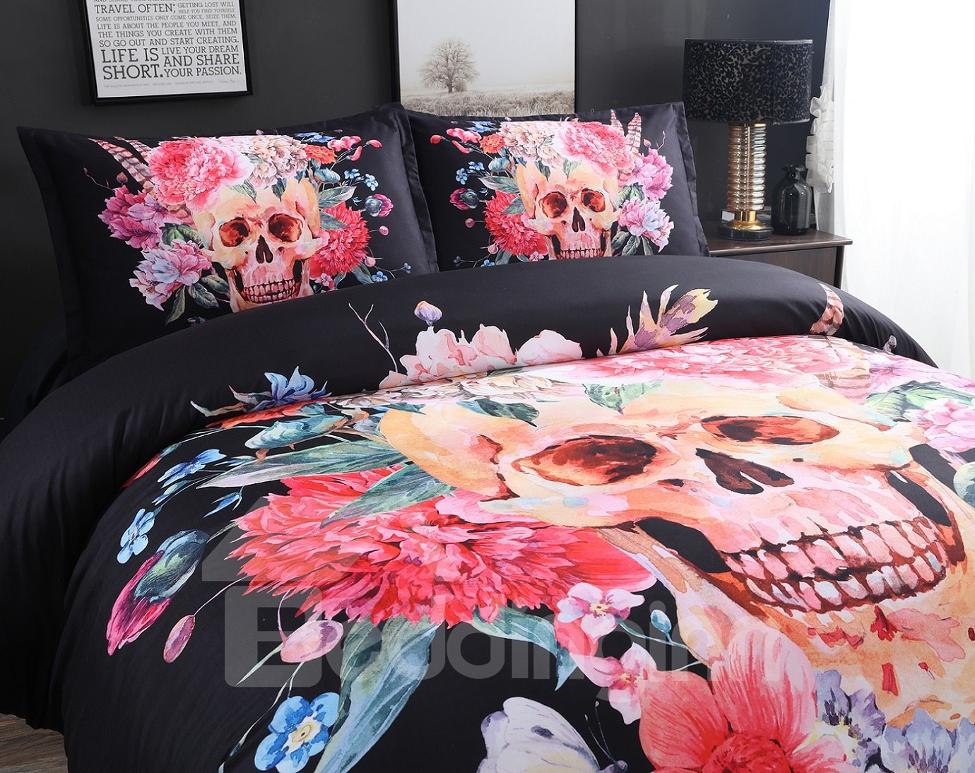 3D Skull with Blooming Flowers Printed Cotton 4-Piece Black Bedding Sets/Duvet Covers