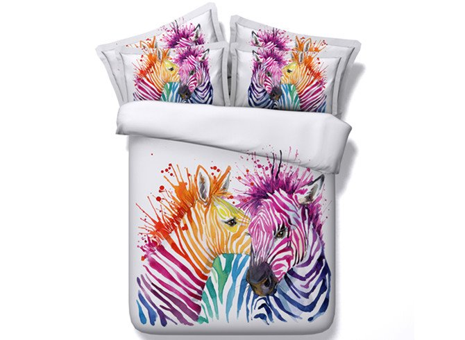 3D Colorful Zebra Couple Printed 4-Piece White Bedding Sets/Duvet Covers