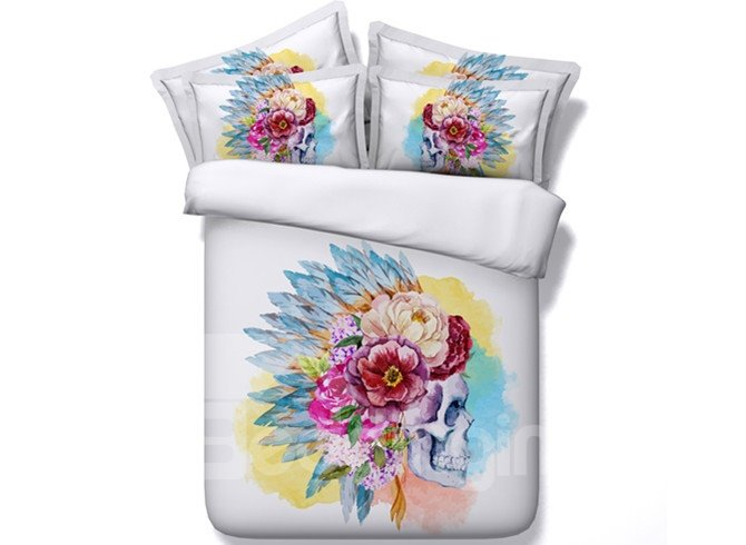 Indian Style Skull Print 4-Piece Duvet Cover Sets
