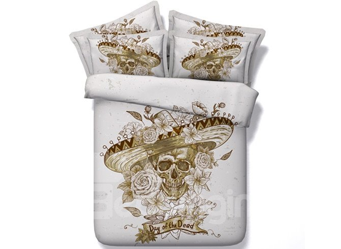 3D Skull with Roses Hat Printed Retro Style Cotton 4-Piece Bedding Sets