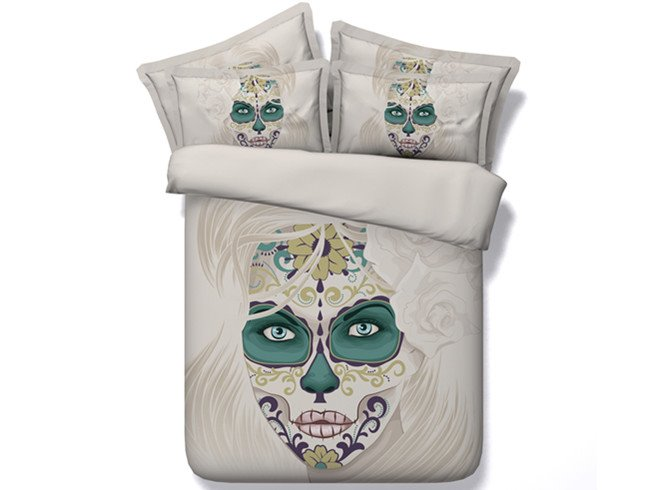 3D Woman Skull with Roses Printed Cotton 4-Piece Bedding Sets/Duvet Covers