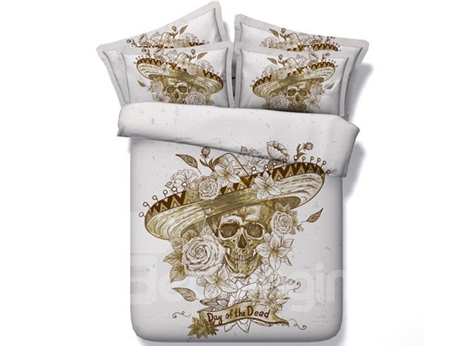 Noble Skull with Wide-brimmed Hat Print 5-Piece Comforter Sets